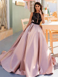 A-line Bateau Pink Beading Prom Dresses Satin Long Prom Dress Evening Dress AMY2483