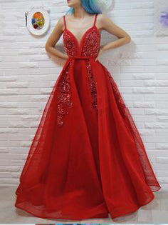 A-line Spaghetti Straps Red Prom Dresses Tulle Beading Long Prom Dress Evening Dress AMY2491