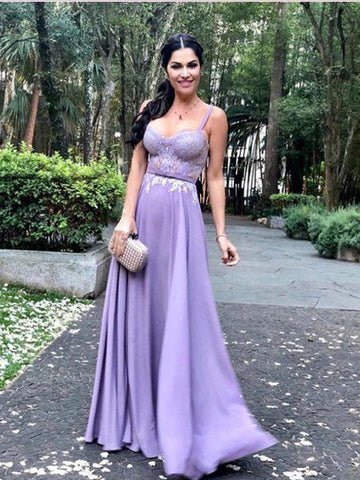 A-line Straps Lilac Prom Dresses Chiffon Lace Long Prom Dress Evening Dress AMY2493