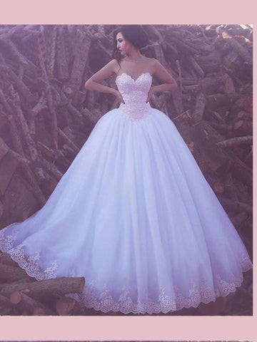 A-line Sweetheart Lace Prom Dresses Tulle Ivory Long Evening Dress Wedding Dress AMY2494