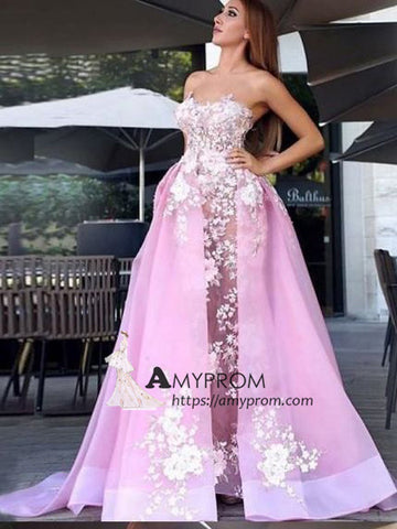 A-line Sweetheart Pink Prom Dress Applique Long Prom Dress Unique Evening Gowns AMY2495