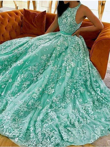 Chic A-line Scoop Lace Prom Dresses Tulle Long Prom Dress Evening Dress AMY2496