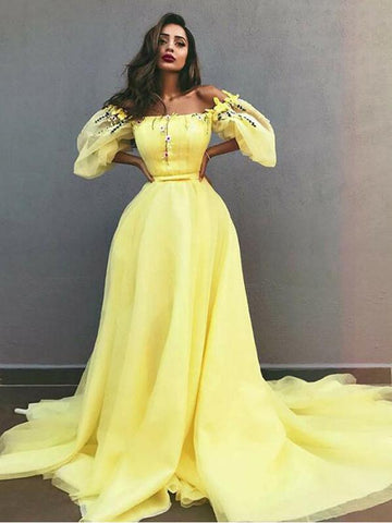 Chic A-line Off-the-Shoulder Yellow Prom Dresses Tulle Long Prom Dress Evening Dress AMY2497