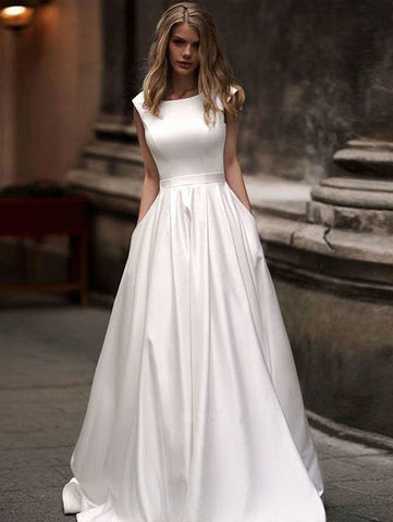 Chic A-line Bateau Ivory Prom Dresses Cheap Simple Long Prom Dress Evening Dress AMY2498