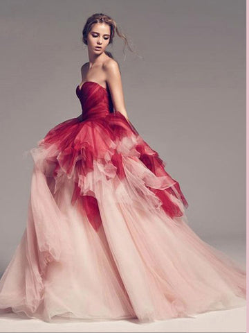 Chic A-line Sweetheart Ombre Prom Dresses Tulle Long Prom Dress Evening Dress AMY2499