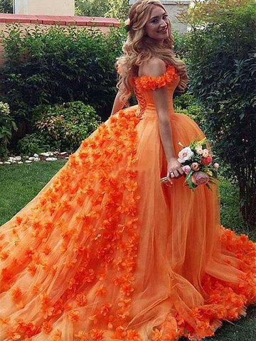 Chic A-line Off-the-Shoulder Orange Prom Dresses Tulle Long Prom Dress Evening Dress AMY2500