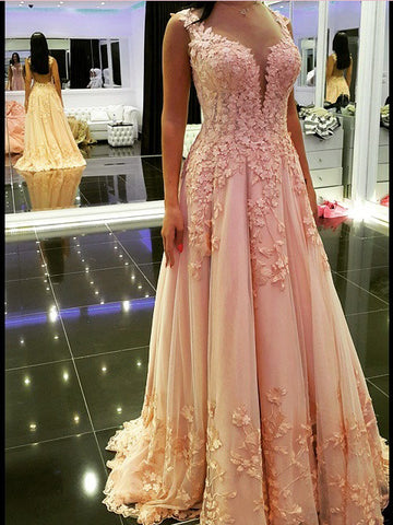 Chic A-line Straps Pink Prom Dresses Tulle Applique Long Prom Dress Evening Dress AMY2501