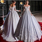 Chic Off-the-Shoulder Silver Prom Dresses Tulle Applique Long Evening Dress Wedding Dress AMY2502
