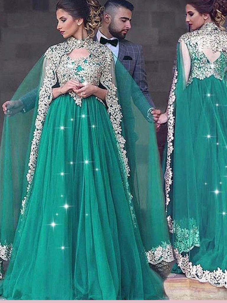 Chic A-line High Neck Sparkly Green Prom Dresses Tulle Applique Long Evening Dress AMY2504