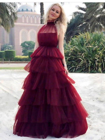 Chic A-line High Neck Burgundy Prom Dresses Tulle Long Prom Dress Evening Dress AMY2505