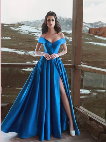 Chic A-line Off-the-Shoulder Blue Prom Dresses Simple Long Prom Dress Evening Dress AMY2506