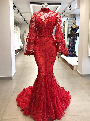 Trumpet/Mermaid High Neck Red Prom Dresses Beading Long Prom Dress Evening Dress AMY2507