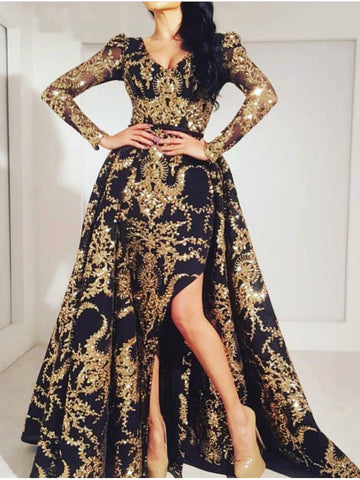 A-line V neck Gold Prom Dresses Long Sleeve Prom Dress Evening Dress AMY2509