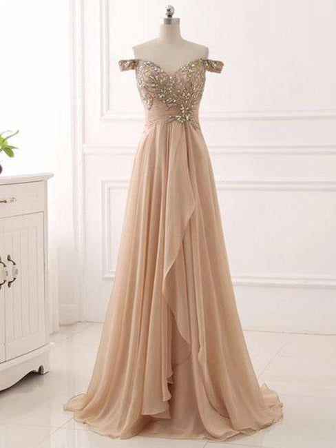 Chic A-line Prom Dresses Long Off-the-shoulder Prom Dress Evening Dresses With Beading AMY250