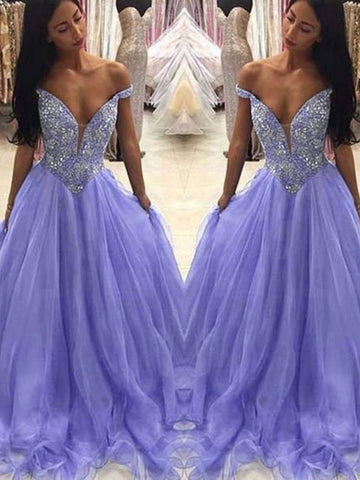 A-line Off-the-Shoulder Lavender Prom Dresses Beading Long Prom Dress Evening Dress AMY2510