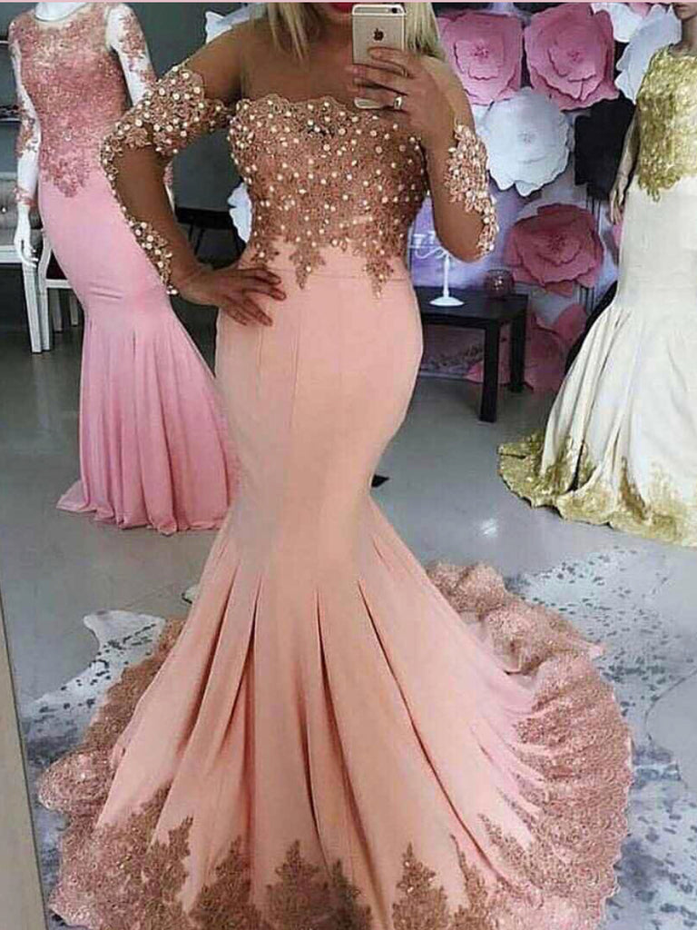 Trumpet/Mermaid Scoop African Prom Dresses Lace Pink Long Prom Dress Evening Dress AMY2511