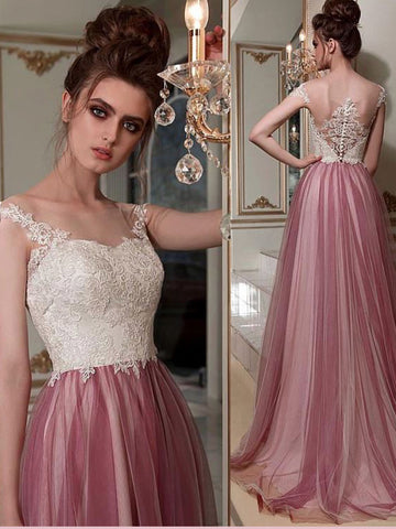 Chic A-line Bateau Lace Prom Dresses Pink Long Prom Dress Evening Dress AMY2512