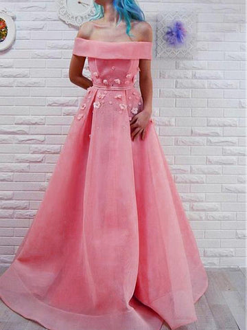 Chic A-line Off-the-Shoulder Pink Prom Dresses Satin Long Prom Dress Evening Dress AMY2513