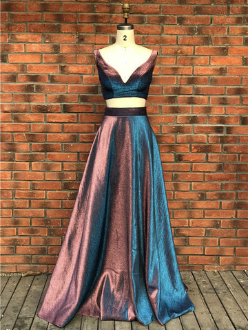 Two Pieces A-line Strap Prom Dresses Long Evening Dress Prom Dress AMY2515
