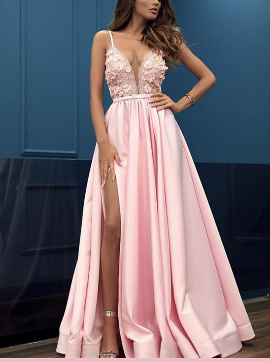 A-line Spaghetti Straps Pink Prom Dresses Lace Blush Long Evening Dress Prom Dress AMY2516