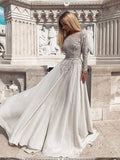 A-line Scoop Beading Prom Dresses Long Sleeve Gorgeous Long Evening Dress Prom Dress AMY2517