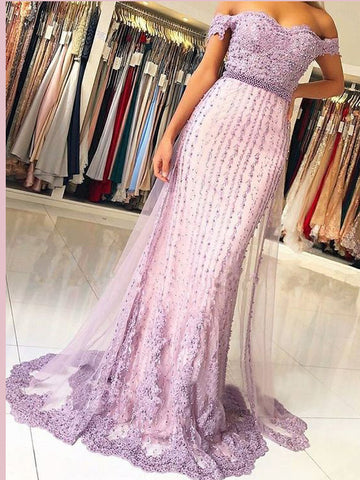 Sheath/Column Off-the-Shoulder Beading Prom Dresses Lilac Unique Long Evening Dress Prom Dress AMY2518