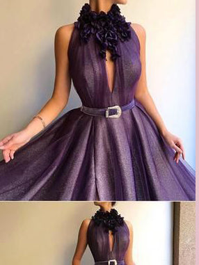 A-line High Neck Grape Prom Dresses Tulle Long Prom Dress Evening Dress AMY2521