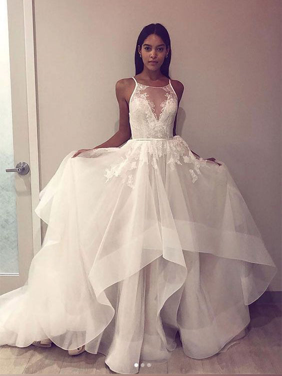 A-line Spaghetti Straps Lace Prom Dresses Tulle Asymmetrical Prom Dress Evening Dress AMY2525