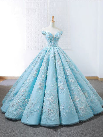 Ball Gowns Off-the-Shoulder Lace Prom Dresses Blue Floor Length Prom Dress Evening Dress AMY2529
