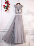 2018 A-line Prom Dresses Gray V neck Tulle Applique Long Prom Dress Evening Dresses AMY252