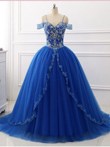A-line Off-the-Shoulder Royal Blue Prom Dresses Beading Floor Length Prom Dress Evening Dress AMY2530