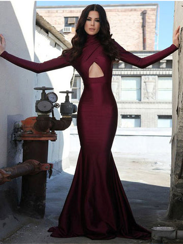 Trumpet/Mermaid High Neck Burgundy Prom Dresses Long Sleeve Prom Dress Evening Dress AMY2532