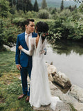 See Through Backless Wedding Dresses Long Sleeve Ivory Lace Wedding Dresses AMY2533