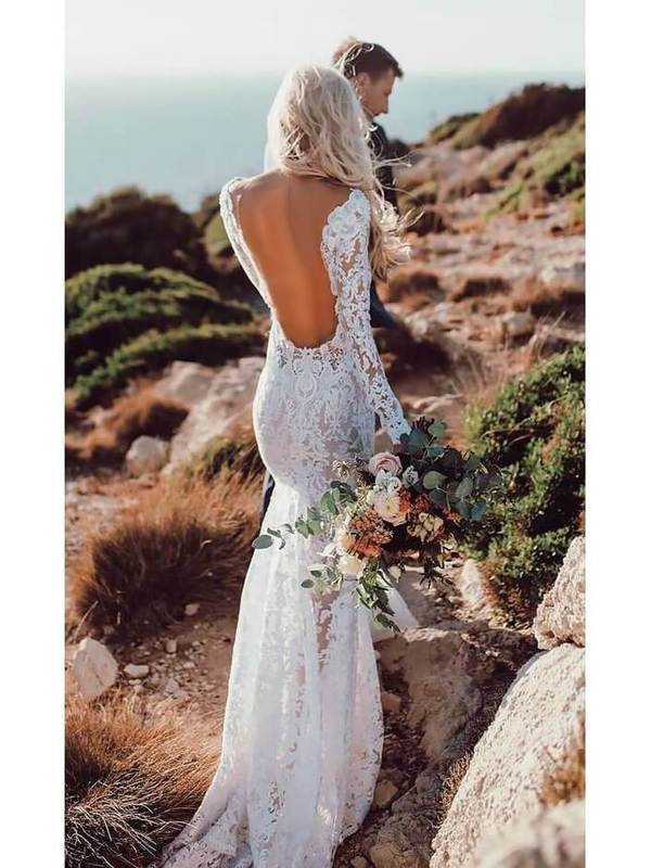 See Through Lace Rustic Wedding Dresses V neck Long Sleeve Mermaid Wedding Dress AMY2534