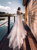 Silver Scoop Long Boho Wedding Dresses Tulle Cap Sleeve Rustic Wedding Dress AMY2535