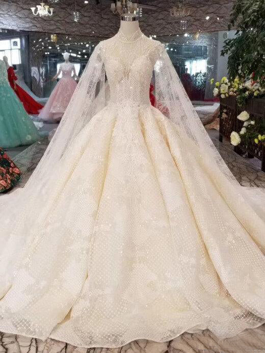 7426f64c0bb4 Champagne High Neck Ball Gown Wedding Dresses Beaded Sparkly Cap Sleeve  Quinceanera Dresses AMY2536