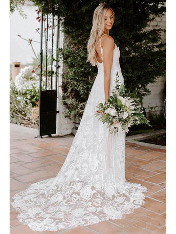 Rose Lace Sheath Wedding Dresses Spaghetti Strap Boho Beach Wedding Dress AMY2537