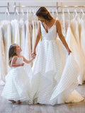 V neck Ball Gowns Spaghetti Strap Wedding Dresses Simple Printed Bridal Dress AMY2538
