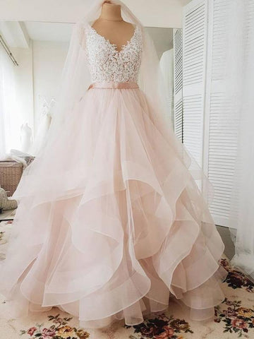 V neck Ball Gowns Cap Sleeve Wedding Dresses Blush Pink Lace Wedding Gowns AMY2539