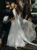 Cap Sleeve Scoop Chiffon Wedding Gowns Lace Beaded Bodice Boho Bridal Dress AMY2541