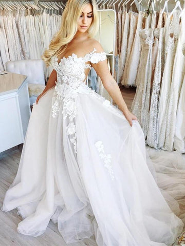 White Off-the-Shoulder See Through Chiffon Wedding Gowns Cap Sleeve Lace Bridal Dress AMY2542