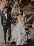 Ball Gowns Sweetheart Neck Boho Wedding Dresses Beaded Bodice Bridal Gowns AMY2545