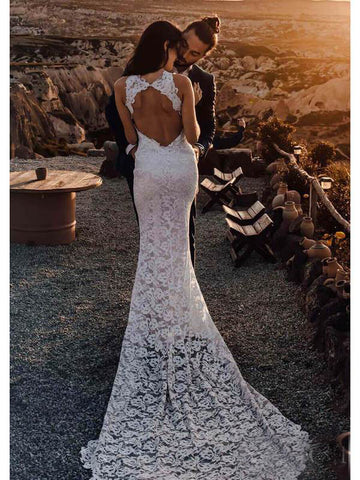 Sheath Lace Bridal Gown with Slit Backless Mermaid Boho Wedding Dresses AMY2546