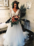 Long Sleeve Lace Tulle Boho Wedding Dresses Rustic Bridal Dress AMY2548