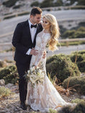 Mermaid Long Sleeve Lace Tulle Boho Wedding Dresses Rustic Bridal Dress AMY2549