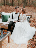 Long Sleeve V neck Lace Tulle Boho Wedding Gowns Rustic Bridal Dress AMY2550