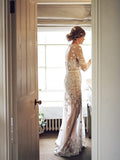 Long Sleeve See Through Boho Wedding Dress Scoop Neck Backless Rustic Bridal Gowns AMY2556