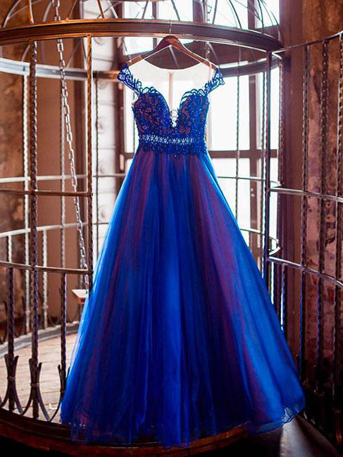 2018 A-line Prom Dresses Scoop Tulle Modest Royal Blue Long Prom Dress Evening Dresses AMY255