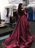 Trumpet/Mermaid Off-the-shoulder Burgundy Prom Dresses Asymmetrical Satin Evening Gowns AMY2560