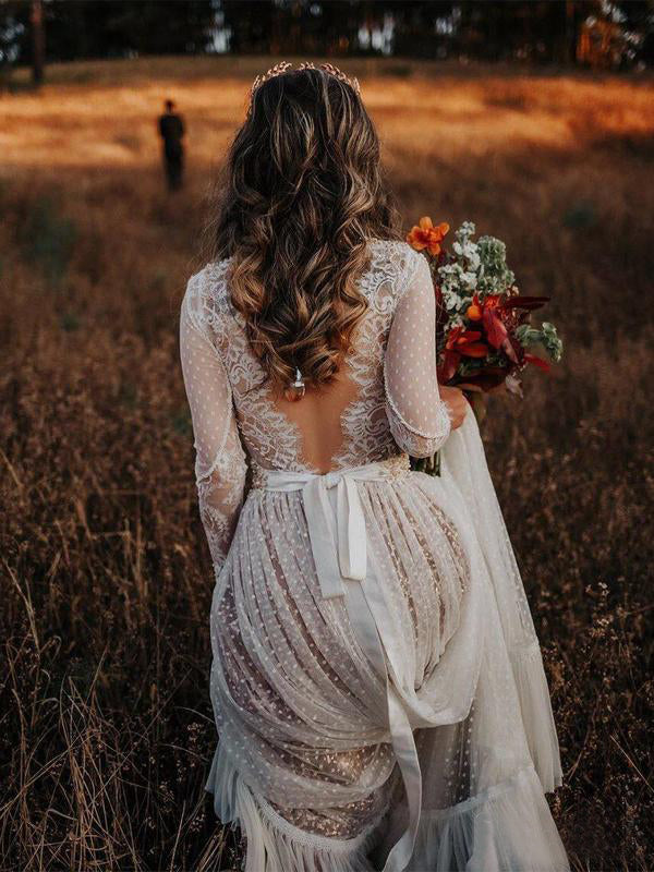 V neck See Through Lace Wedding Dresses Boho Rustic Bridal Dress AMY2560